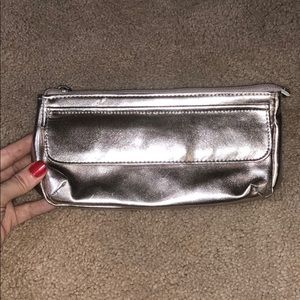 New Never used Silver Clutch/Makeup Bag